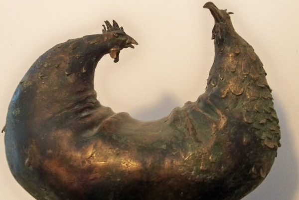 Chickens (detail). Bronze from Poland.